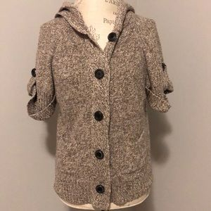 Flutter Sleeve Knit Sweater Hooded Cardigan Small